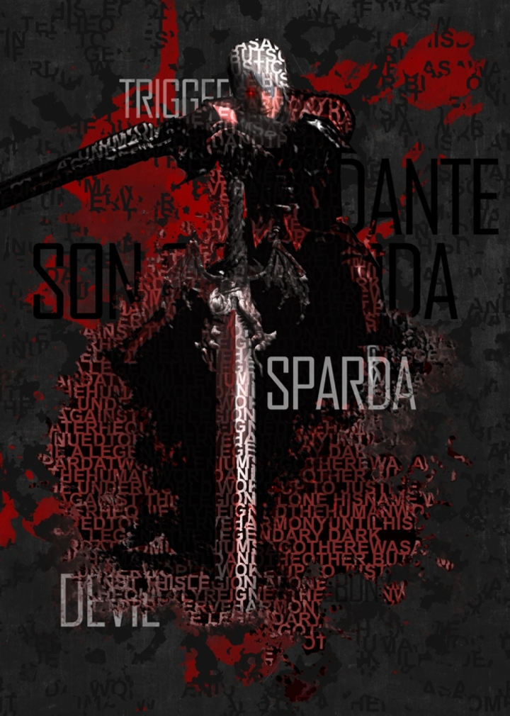 Devil May Cry 1 Dante Type Poster Print WallArt